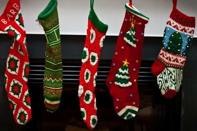 Stockings hung on mantle