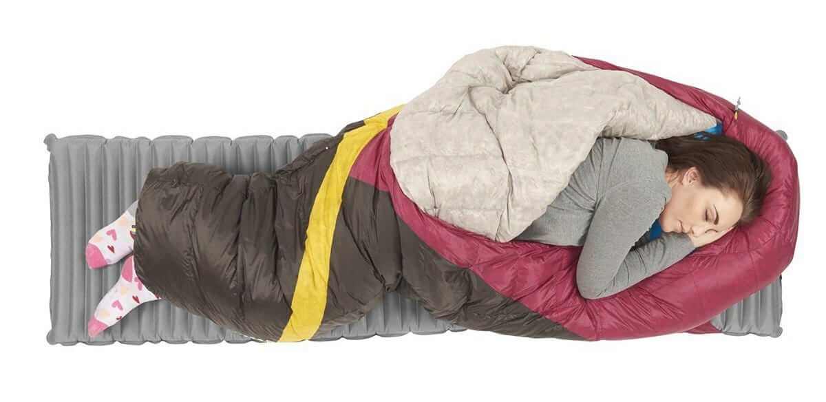 Feet sticking out of a sleeping bag while laying on a camp pad