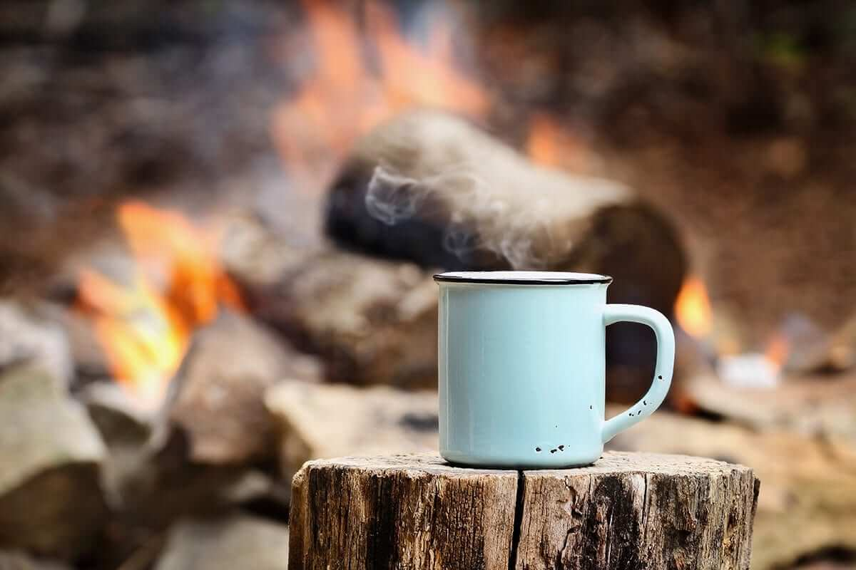Instant coffee on a camping trip