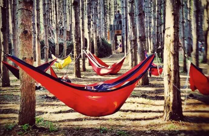 Enjoy time outside with your friends in an ENO hammock!