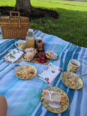Picnic spread out on a blanket