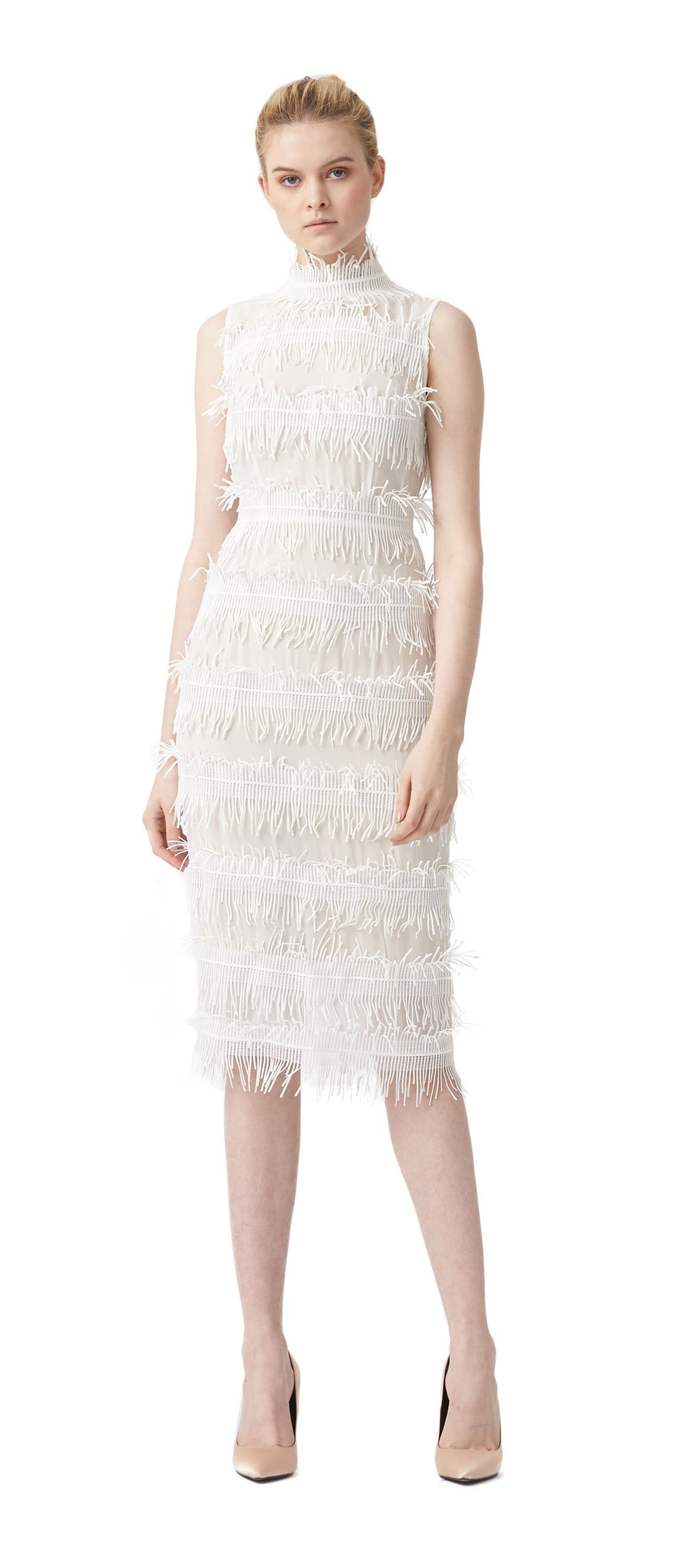 Rain Lace Trim High Neck Dress by Aijek at Maximillia.
