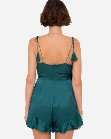 Chloe Wrap Playsuit - Forest Green