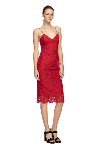 Melody Lace Sheath Dress - Red