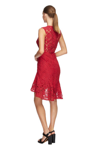 Melody Lace Flare Dress - Red