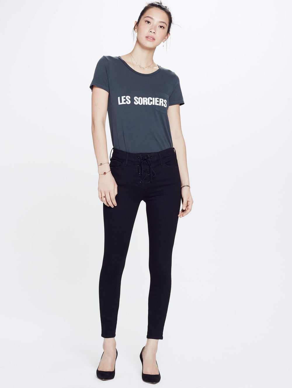 High Waisted Lace Up Looker Jean - Not Guilty by Mother at Maximillia eBoutique.