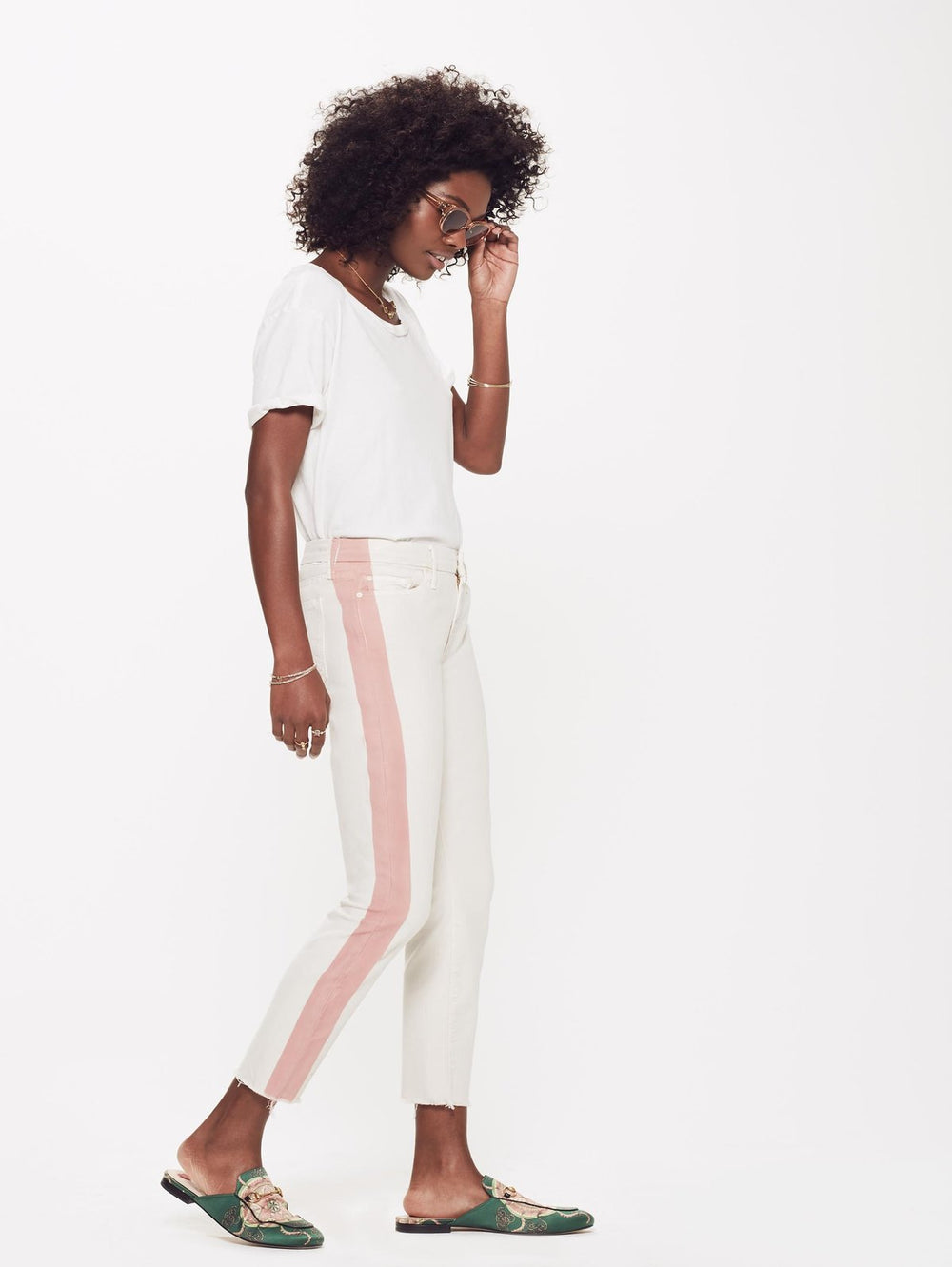 Looker Ankle Fray Jean - So Far Gone Ivory/Rose at Maximillia eBoutique.