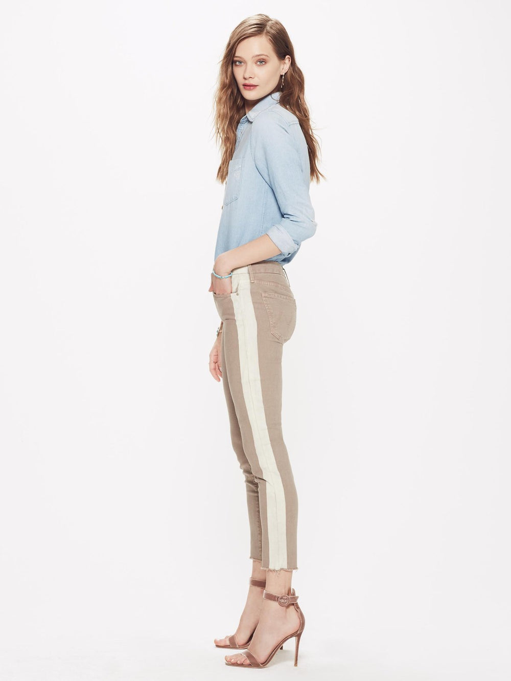 Looker Ankle Fray Jean - So Far Gone Khaki/Stone at Maximillia eBoutique