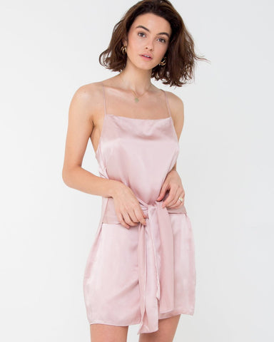 Elle Silk Mini Dress - Blush