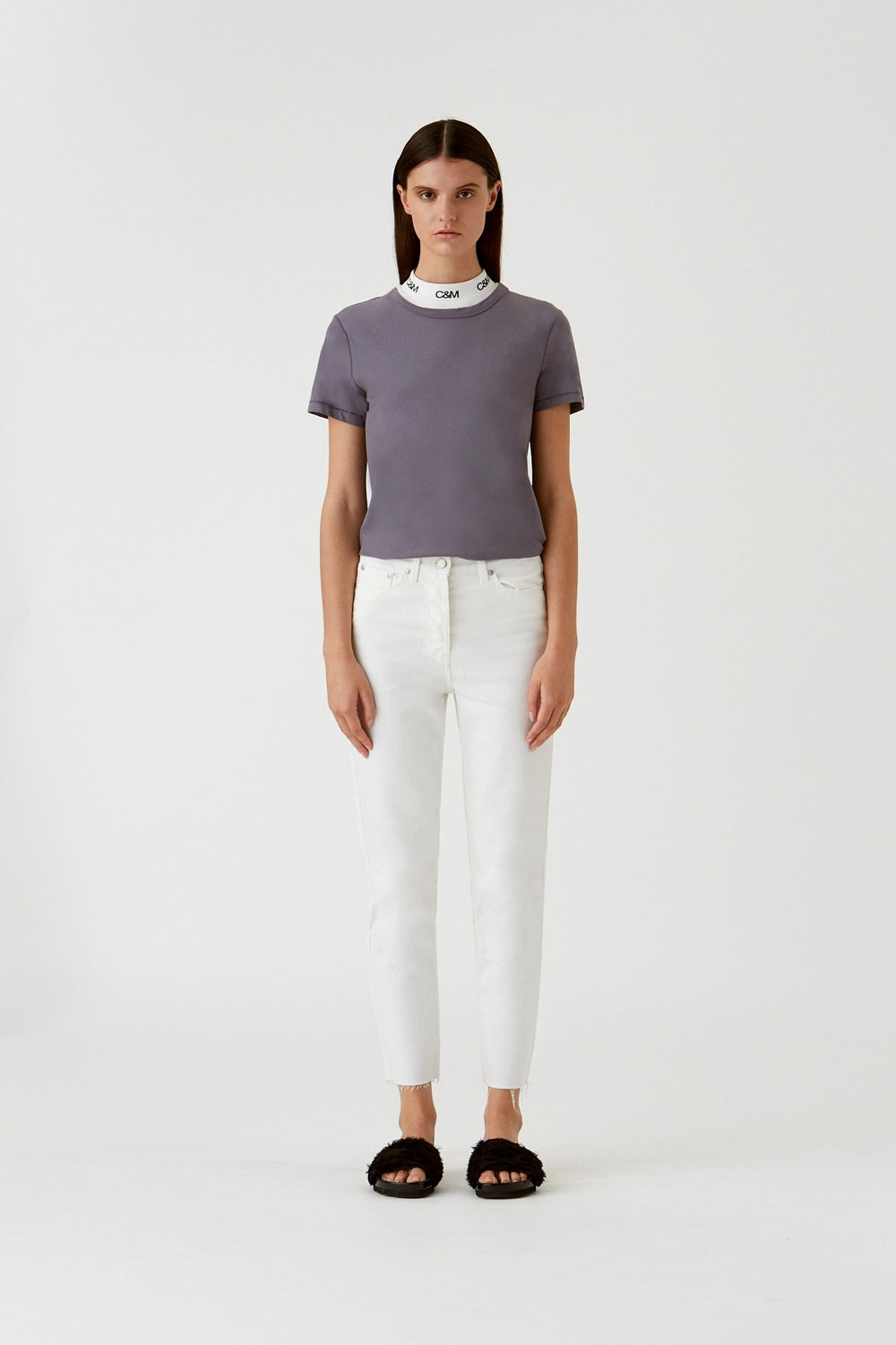 The Margot Cropped Straight Leg Jean in White by CAMILLA AND MARC