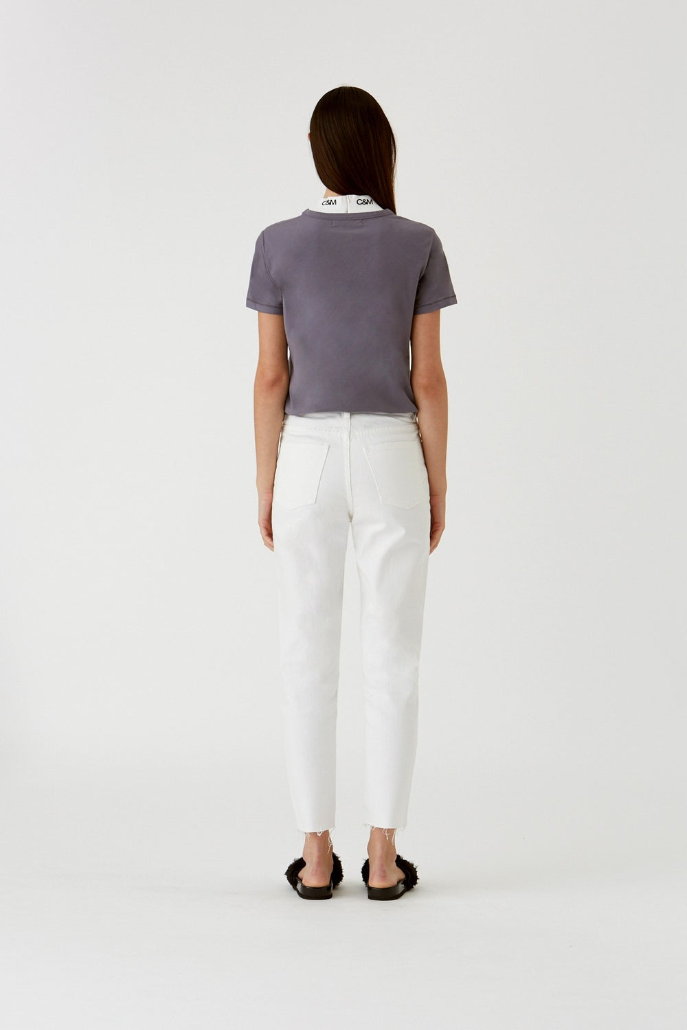Margot Cropped Straight Leg Jean - Washed White