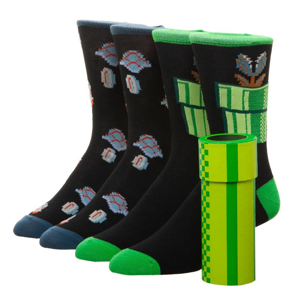 Super Mario Crew Sock Set with Warp Pipe