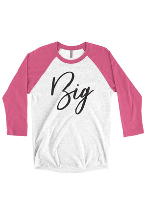 Big Little Handwriting Shirt - Next Level Unisex Triblend 3/4-Sleeve Raglan, Ladies, Sunny and Southern, - Sunny and Southern,