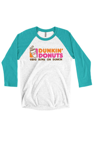 Big Little Runs on Dunkin Shirt - Next Level Unisex Triblend 3/4-Sleeve Raglan, Ladies, Sunny and Southern, - Sunny and Southern,