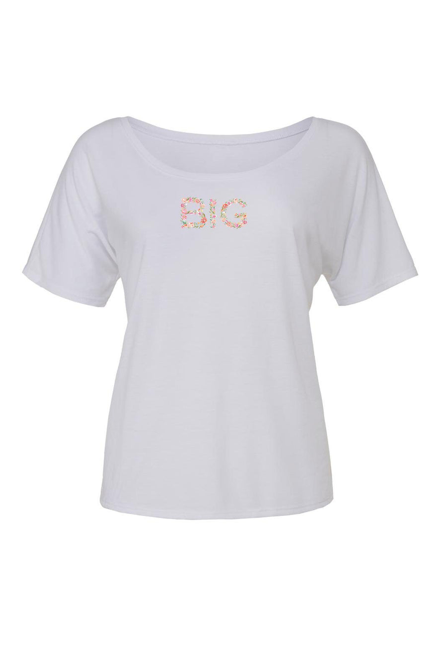 Big Little Floral Letters Shirt - Bella Slouchy Scoop Neck Short Sleeve, Ladies, Sunny and Southern, - Sunny and Southern,