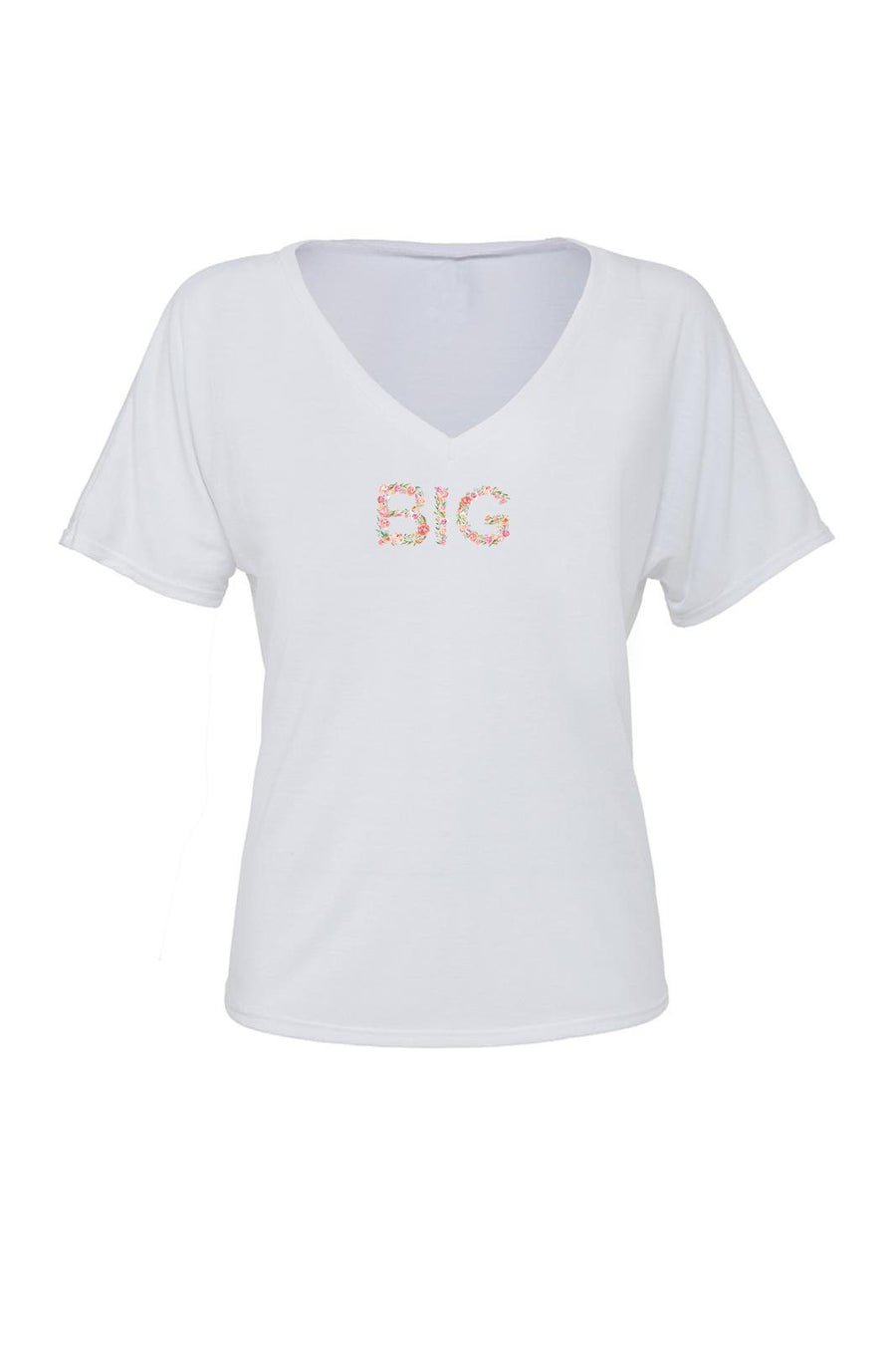 Big Little Floral Letters Shirt - Bella Slouchy V-Neck Short Sleeve, Ladies, Sunny and Southern, - Sunny and Southern,