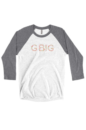 Big Little Floral Letters Shirt - Next Level Unisex Triblend 3/4-Sleeve Raglan, Ladies, Sunny and Southern, - Sunny and Southern,
