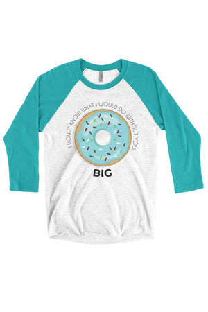 Big Little Donut Shirt - Next Level Unisex Triblend 3/4-Sleeve Raglan, Ladies, Sunny and Southern, - Sunny and Southern,