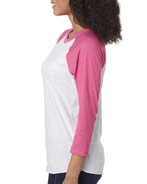 Flamingo Jungle Greek Shirt - Next Level Unisex Triblend 3/4-Sleeve Raglan, Ladies, Sunny and Southern, - Sunny and Southern,