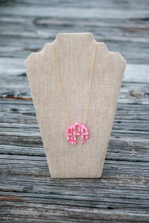Acrylic Monogrammed Necklace, , Sunny and Southern, - Sunny and Southern,