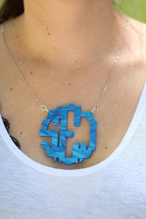 Acrylic Mirrored Monogrammed Necklace, , Sunny and Southern, - Sunny and Southern,
