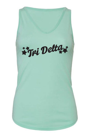 Greek Tilted Stars Bella Canvas Flowy V-Neck Tank