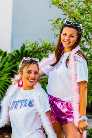 Pink and Blue Neon Sign, Trendy, Retro, Simple, Big Little Shirts and Tanks, Cute Big Little Shirts and Tanks, Trendy Big Little Shirts and Tanks