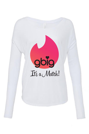 Big Little Tinder - It's a Match Bella Canvas Ladies Flowy Long Sleeve Tee