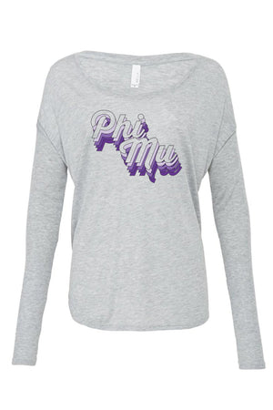 Purple Retro Design Bella Canvas Ladies Flowy Long Sleeve Tee