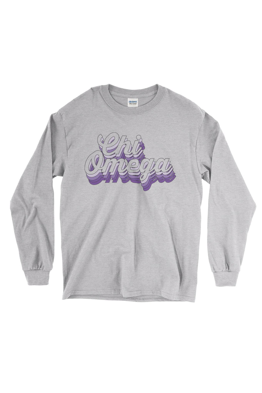 Purple Retro Design White Gildan Long Sleeve