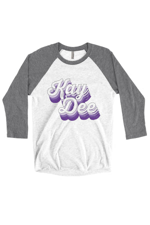 Purple Retro Design Next Level Unisex Triblend 3/4-Sleeve Raglan