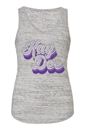 Purple Retro Design Bella Canvas Flowy V-Neck Tank