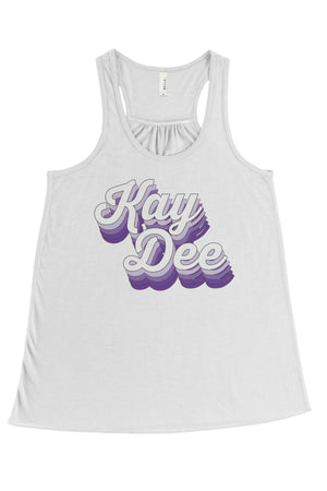 Purple Retro Design Bella Canvas Flowy Racerback Tank