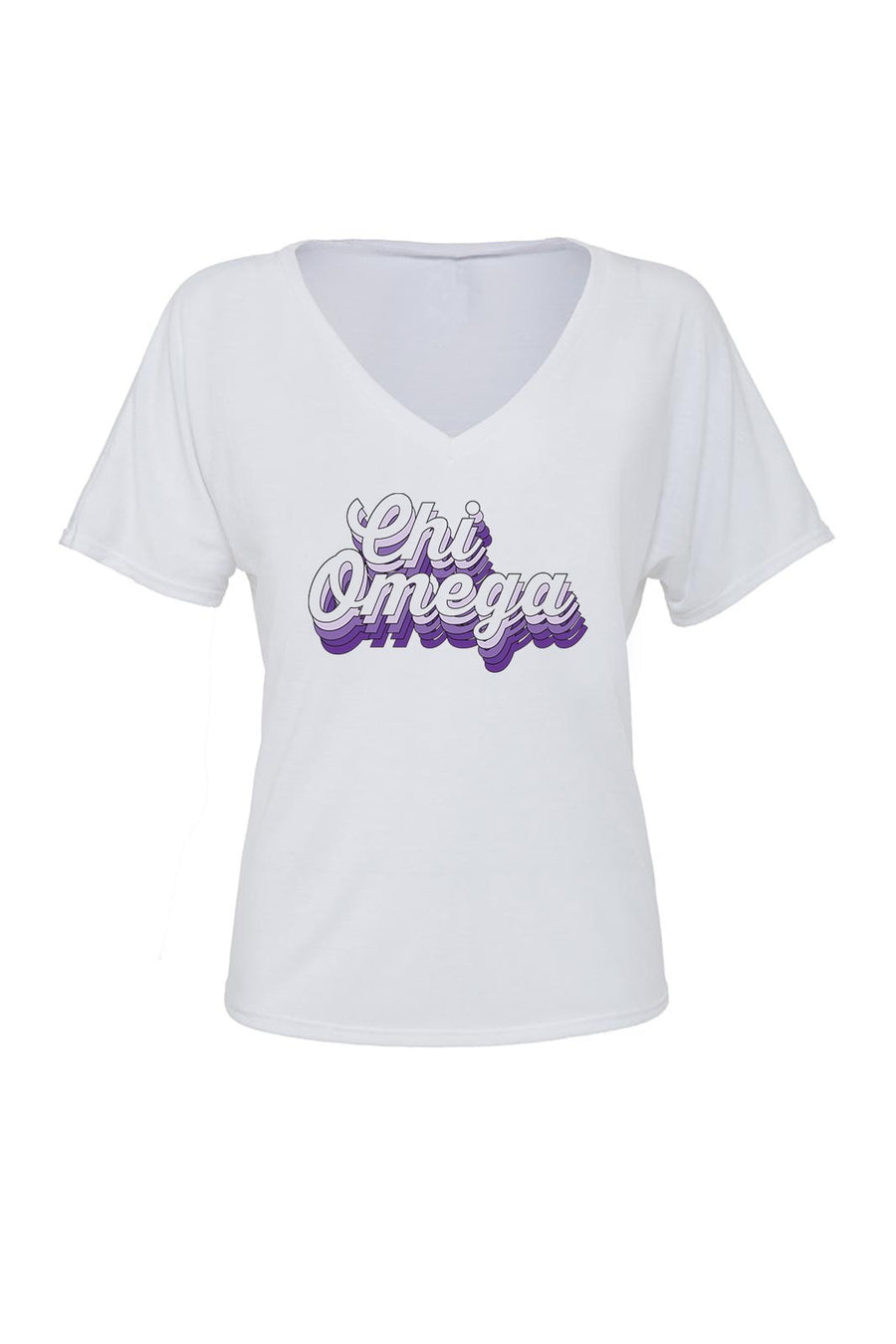 Purple Retro Design Bella Canvas Ladies Slouchy V Neck Tee