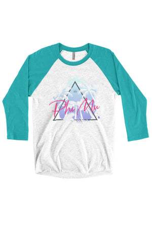 Retro Palm Trees Shirt - Next Level Unisex Triblend 3/4-Sleeve Raglan