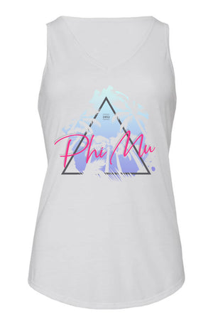 Retro Palm Trees Tank- Bella Flowy V-Neck
