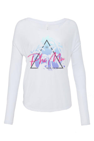 Retro Palm Trees Shirt - Bella Flowy Long Sleeve