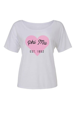Greek Heart Est. Date Shirt - Bella Slouchy Scoop Short Sleeve