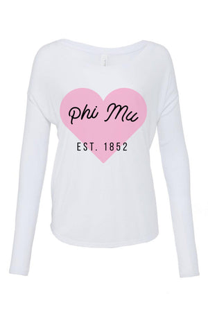 Greek Heart Est. Date Shirt - Bella Flowy Long Sleeve
