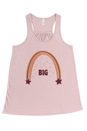 Retro Rainbow Big Little Bella Canvas Flowy Racerback Tank