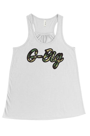Big Little Camo Script Bella Canvas Flowy Racerback Tank