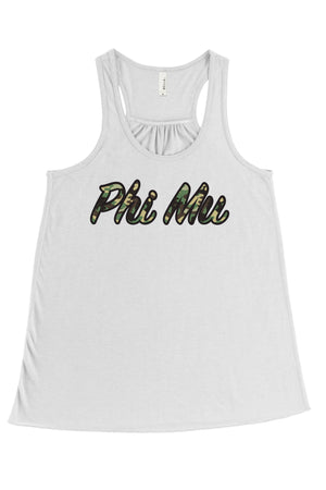 Greek Camo Bella Canvas Flowy Racerback Tank