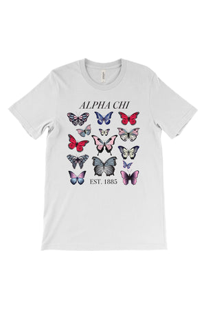 Butterflies Greek Organization and Established Date Bella Canvas Short Sleeve Unisex Tee