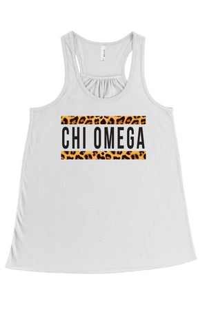 Bold Cheetah Line Greek Organization Bella Canvas Flowy Racerback Tank