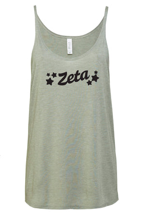 Greek Tilted Stars Bella Canvas Slouchy Tank