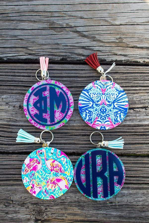 Greek Letters Tropical Round Tassel Key Chain