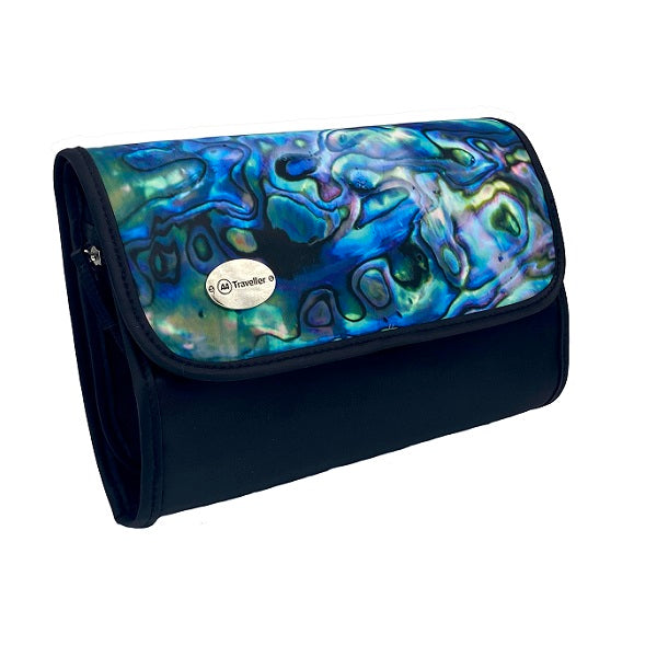 A rectangular cosmetic bag with which secures with a Velcro strip across the top. The front of the bag the inside of the iconic Kiwi Pāua shell with beautiful swirls of blue, green and purple. The front left corner hosts a silver badge with the AA Traveller logo. The back and sides are black, with a black Velcro strip and unfolds into 4 compartments.