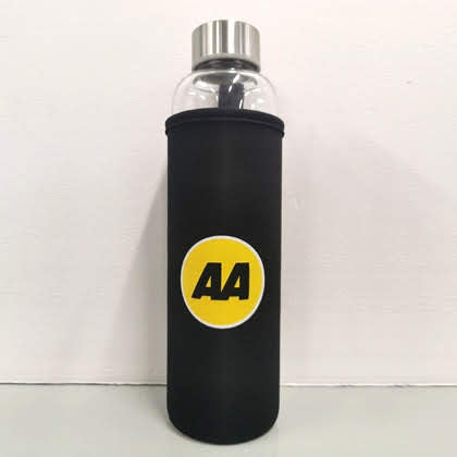 Glass drink bottle inside an insulating neoprene sleeve. The bottle has a stainless steel, screw-on cap.