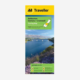 AA Traveller Ashburton-Oamaru-Cromwell Touring Map including town inset maps, full index, i-SITEs and Time & Distance Guide. Printed & folded paper map.