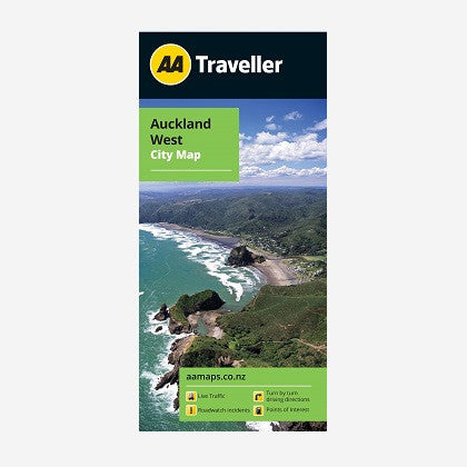 Auckland West City Map includes inset maps for Muriwai Beach & Piha. Printed & folded paper map.